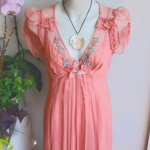 Rebecca Taylor pink silk midi dress, size 10